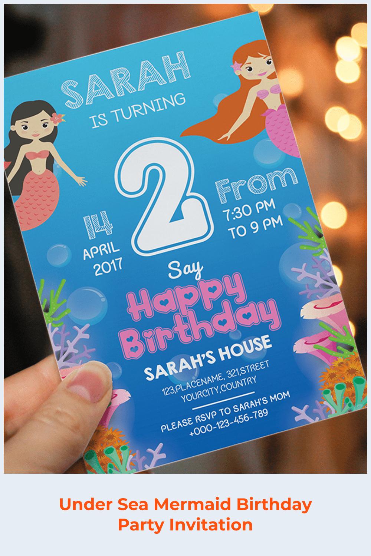 Under sea mermaid birthday party invitation.
