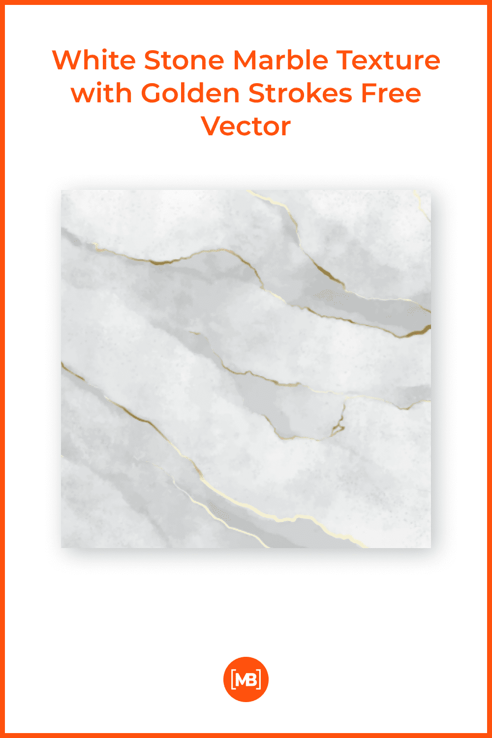 White stone marble texture with golden strokes.