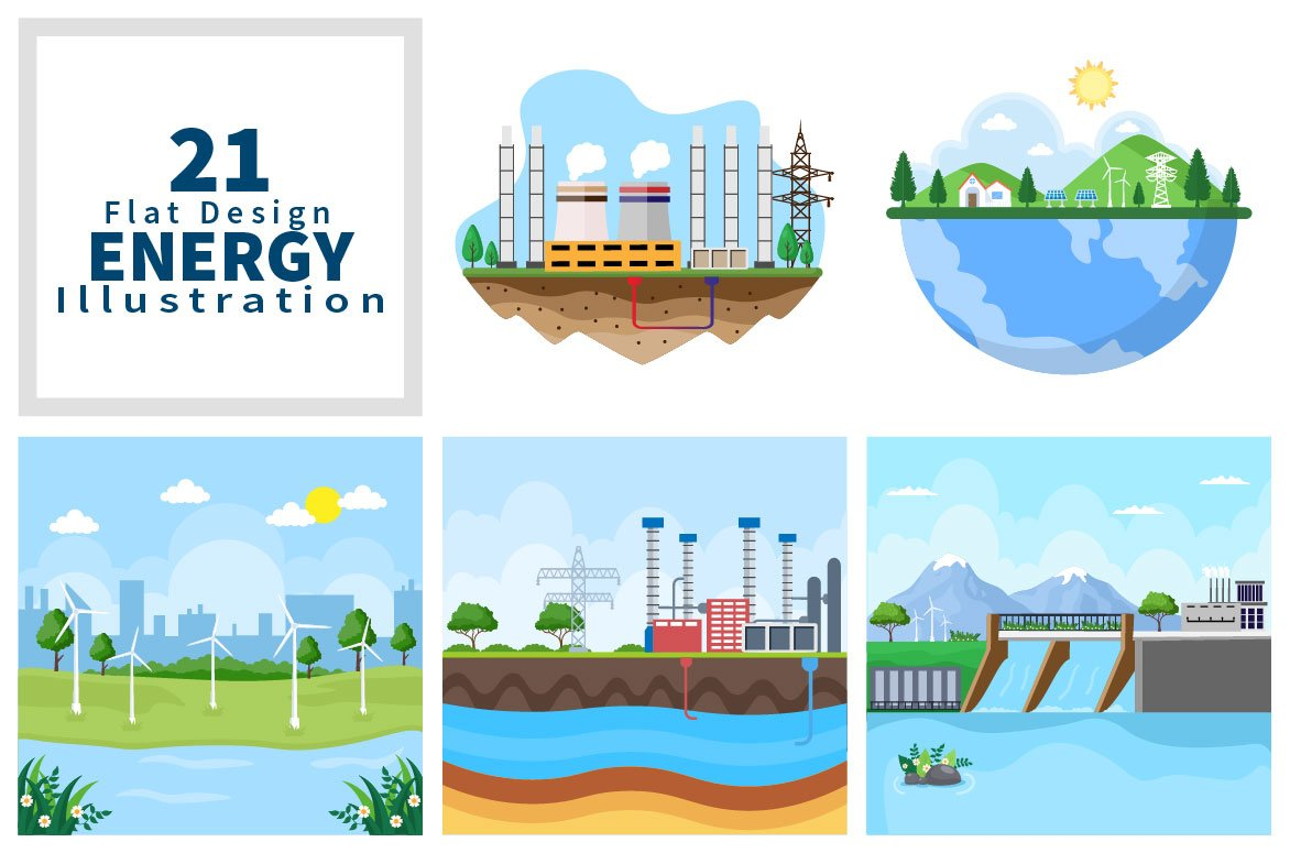 Blue & white Ecological Sustainable Energy Supply Illustrations