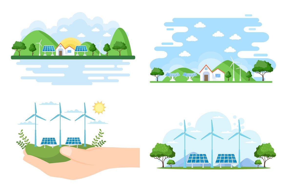 Ecological Sustainable Energy Supply Illustrations previews