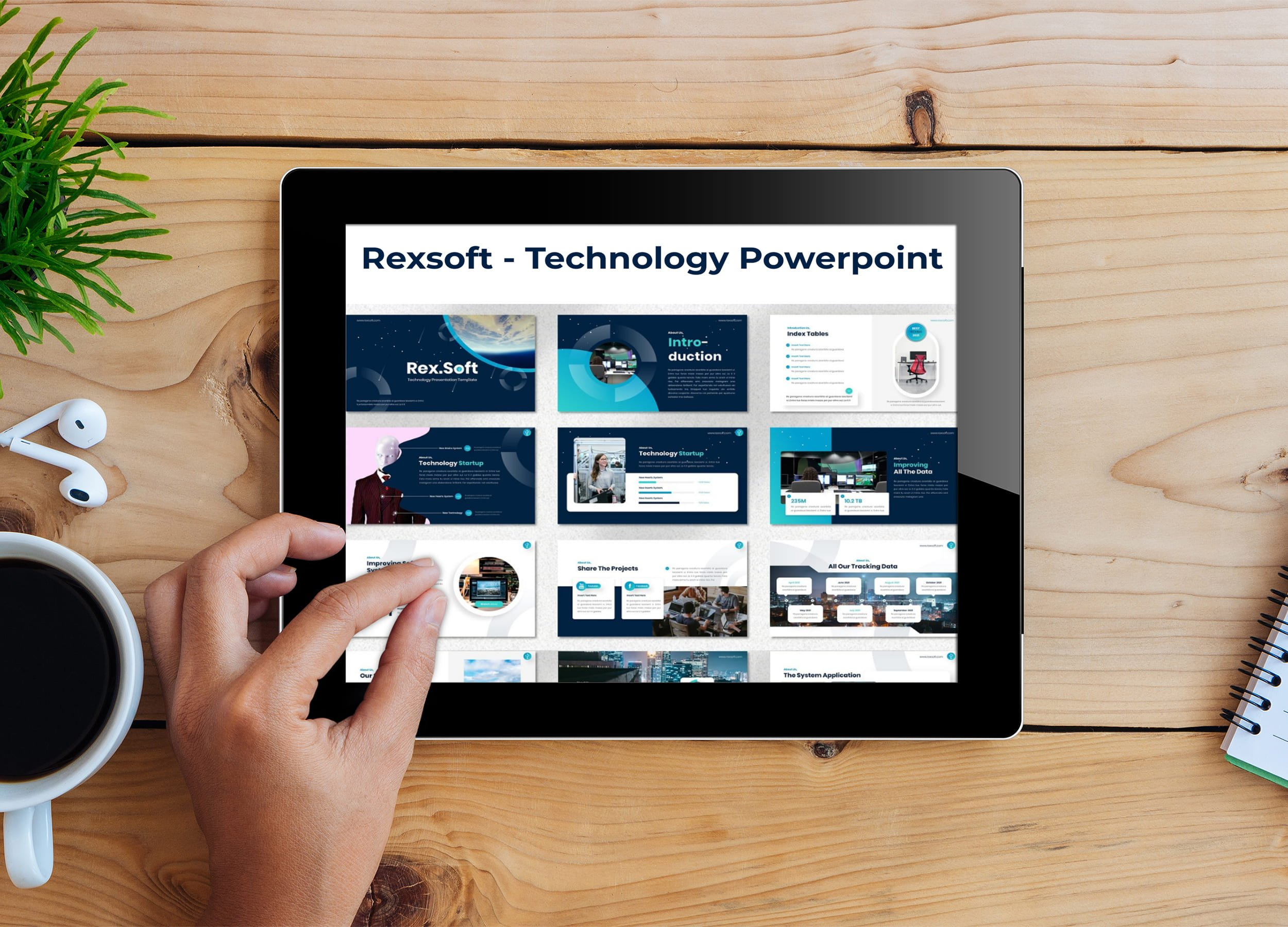 Tablet option of the Rexsoft - Technology Powerpoint.