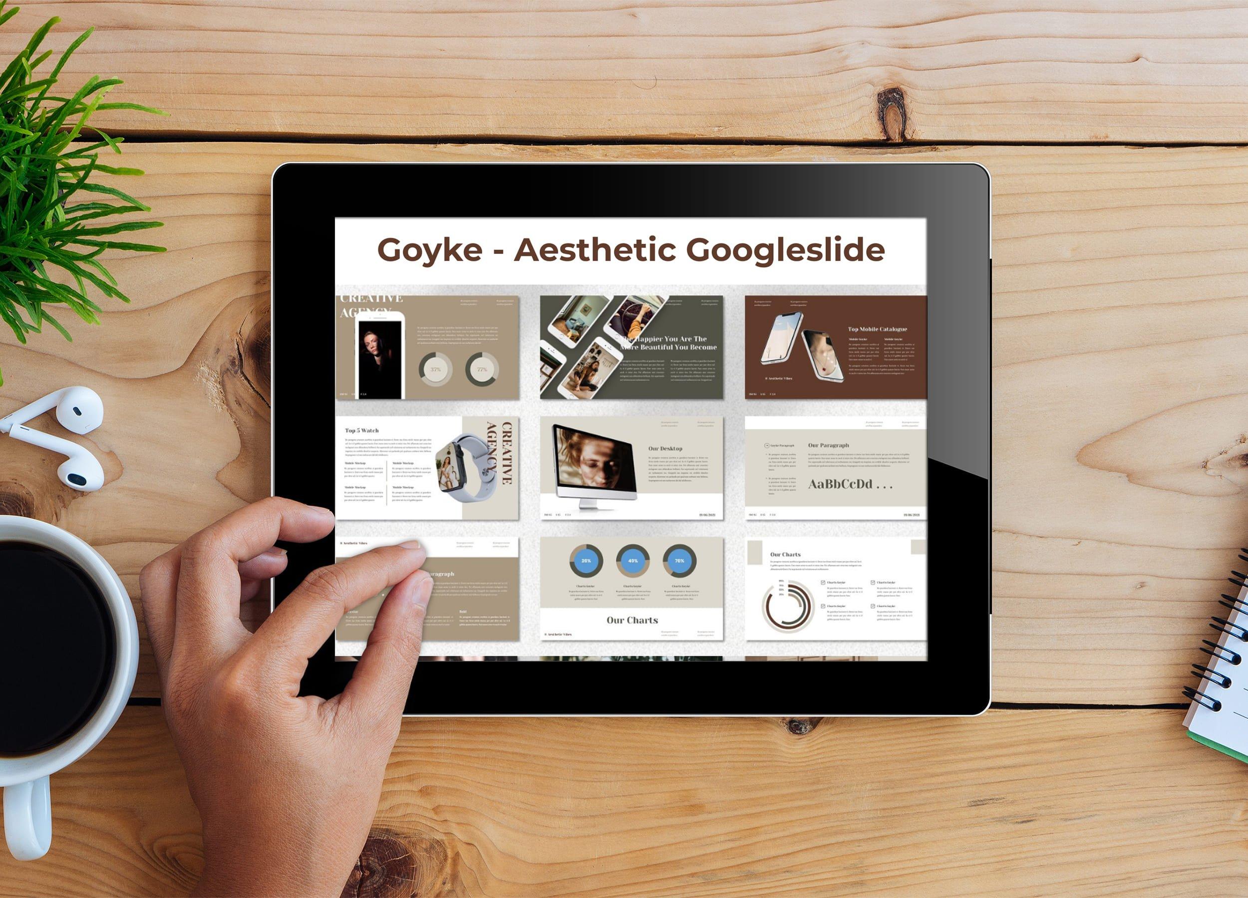 Tablet option of the Goyke - Aesthetic Googleslide.