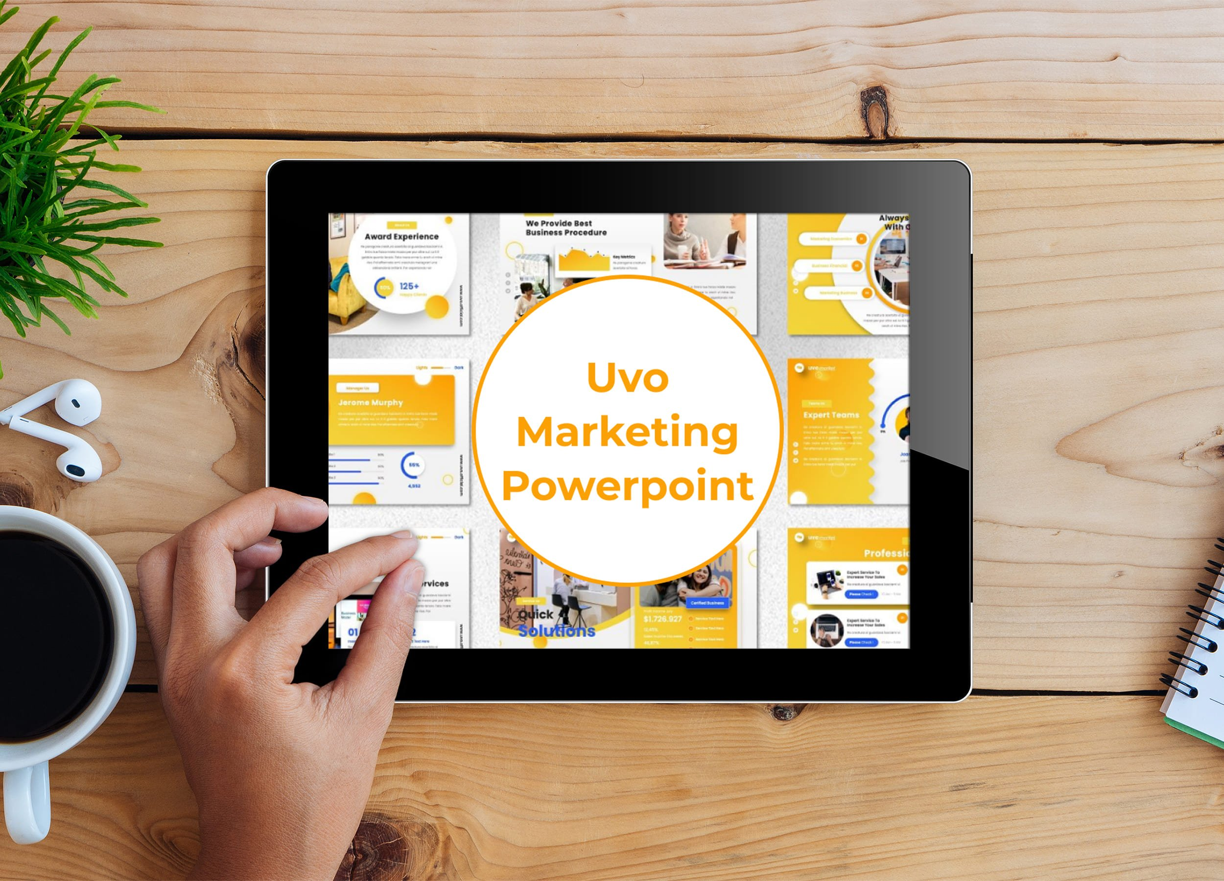 Tablet option of the Uvo - Marketing Powerpoint.