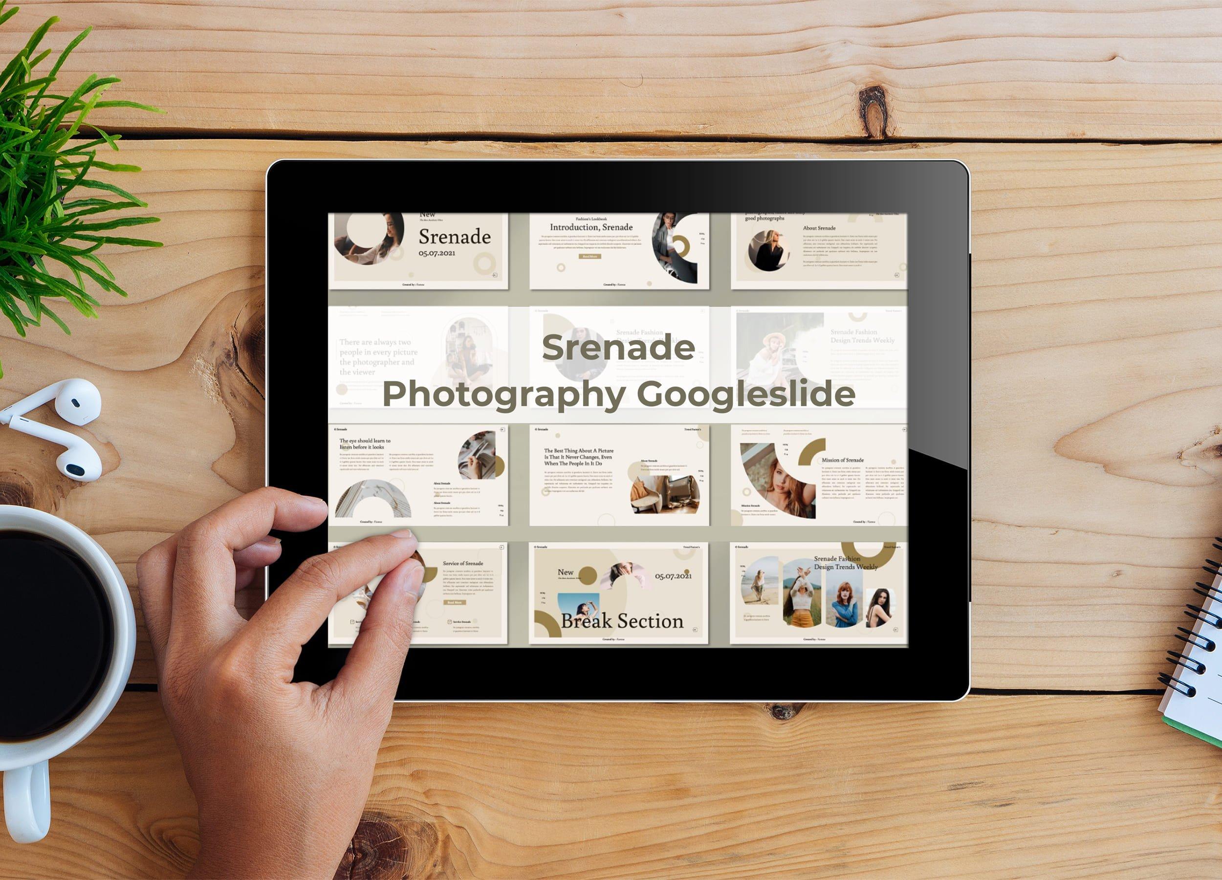 Tablet option of the Srenade - Photography Googleslide.