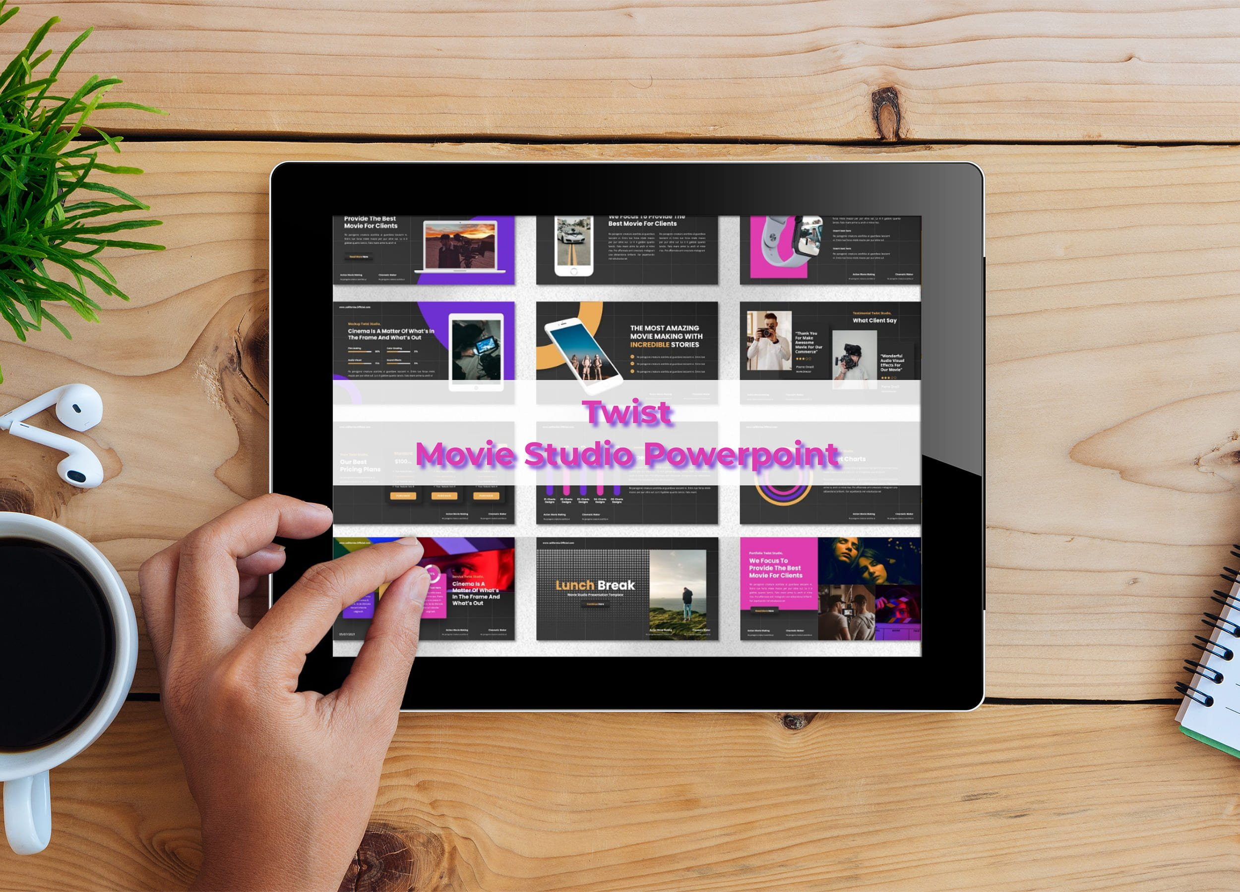 Tablet option of the Twist - Movie Studio Powerpoint.