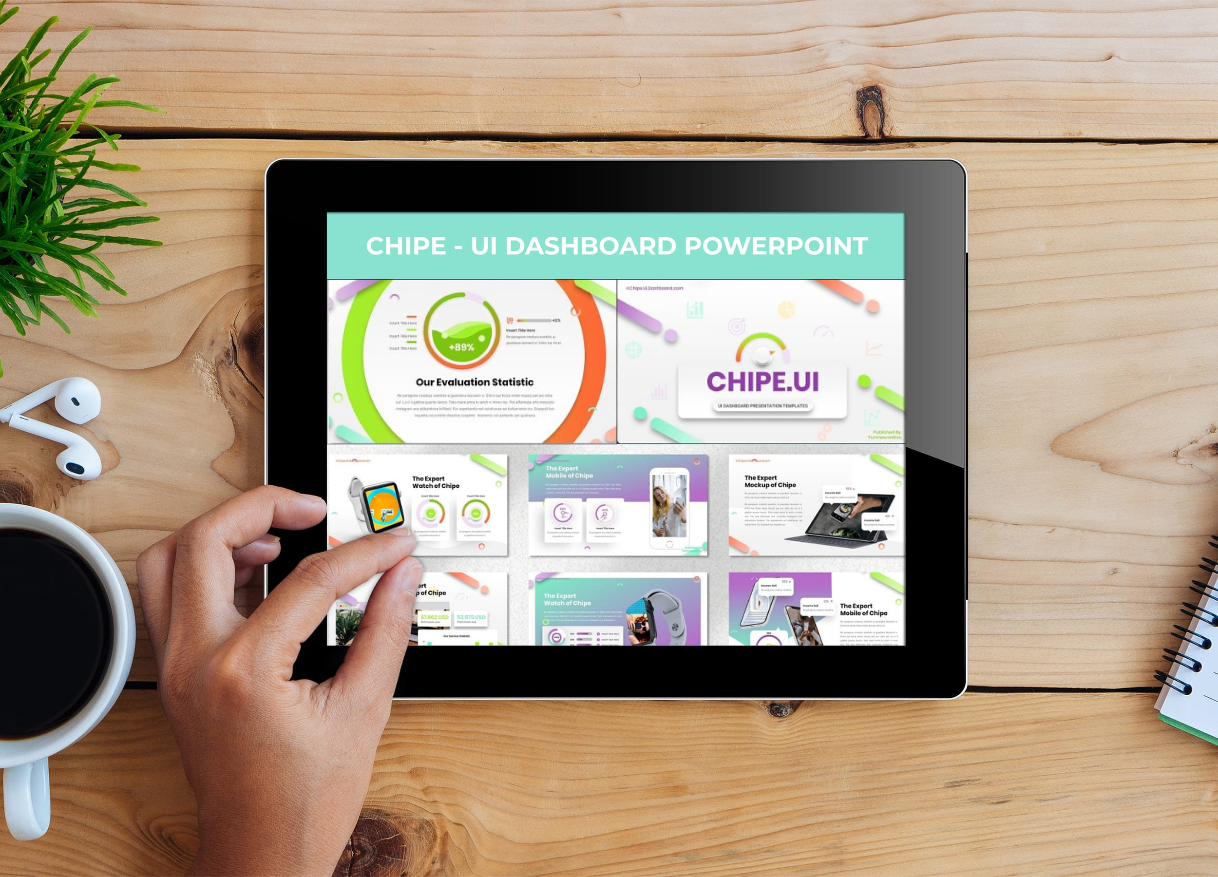 Tablet option of the Chipe - UI Dashboard Powerpoint.