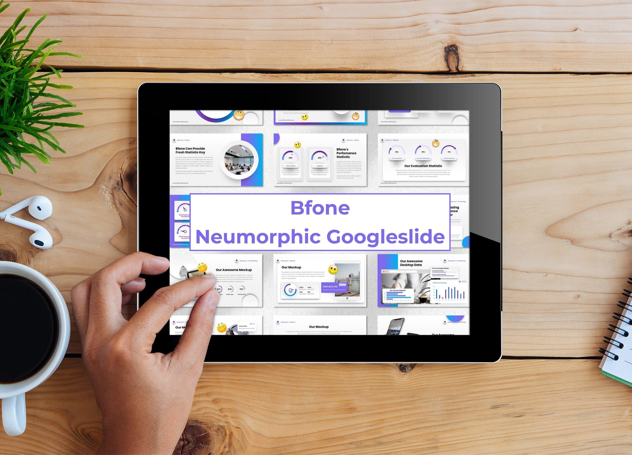 Tablet option of the Bfone - Neumorphic Googleslide.