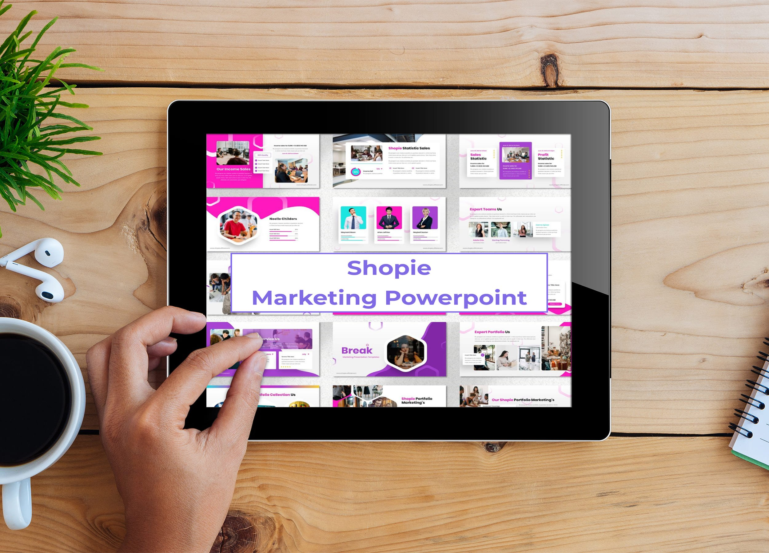 Tablet option of the Shopie - Marketing Powerpoint.