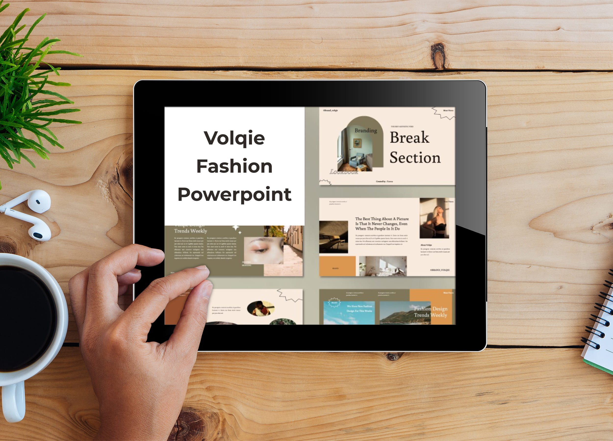 Tablet option of the Volqie - Fashion Powerpoint.