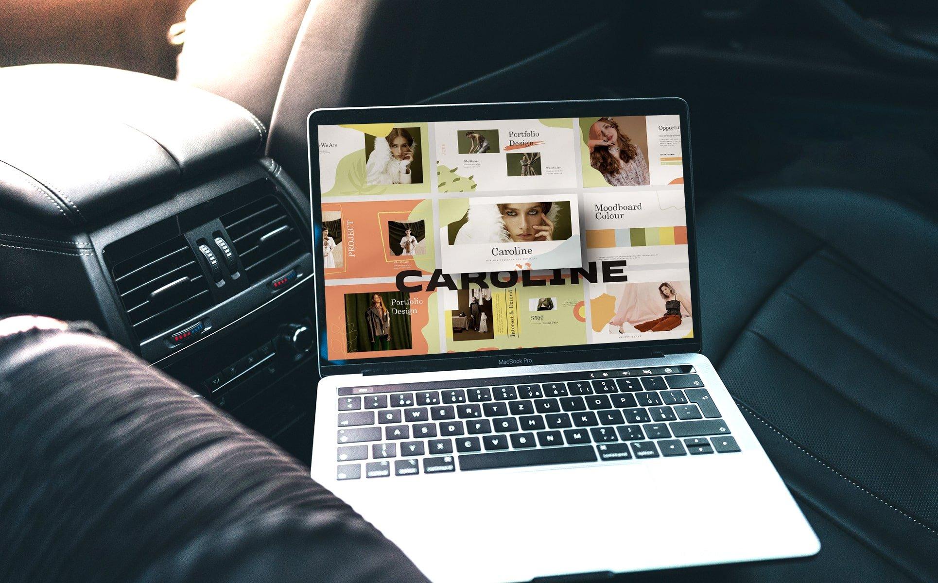 Laptop option of the Caroline Googleslide Template.