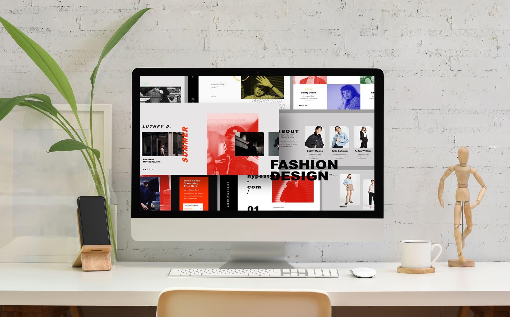 Desktop option of the Fashion Design Keynote Template.