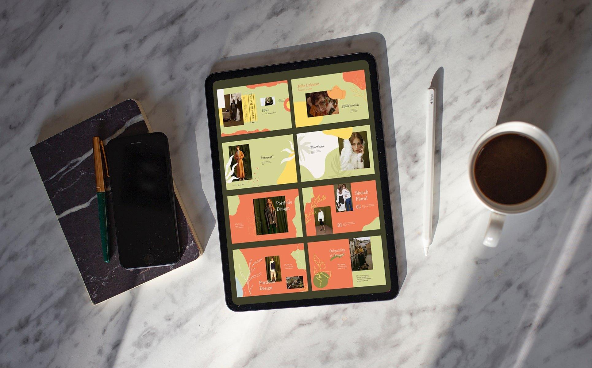 Tablet option of the Caroline Googleslide Template.