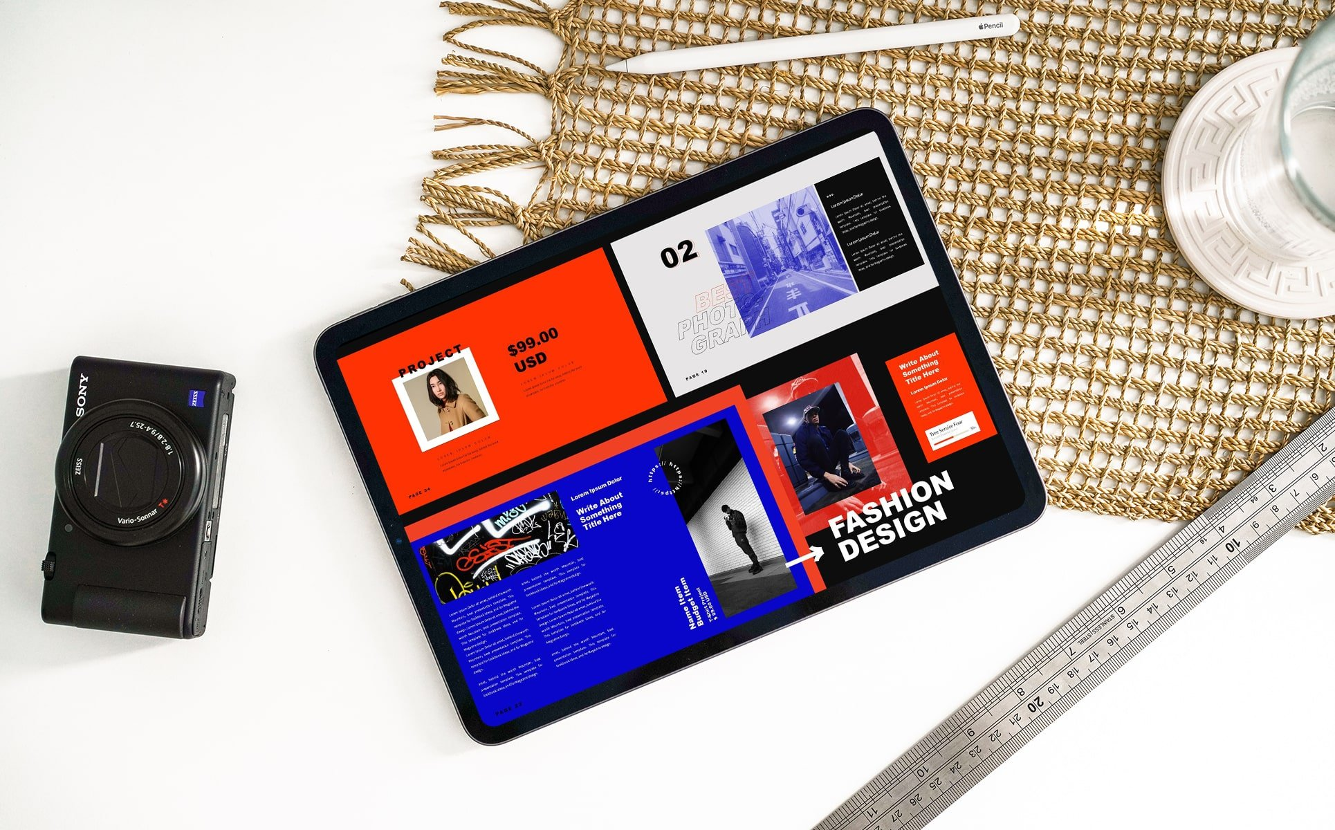 Tablet option of the Fashion Design Keynote Template.