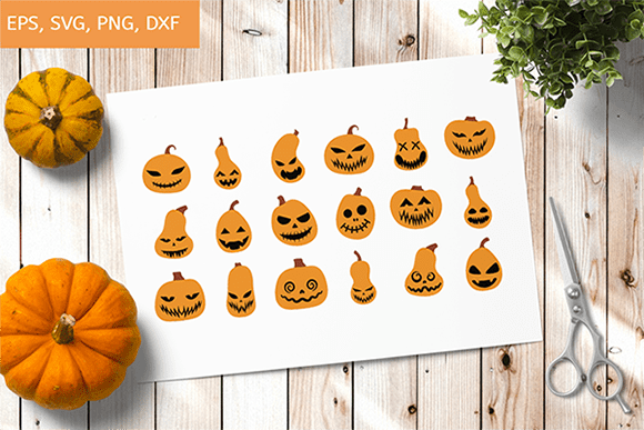 Pumpkin Faces SVG, Pumpkin Bundle Svg, Jack O Lantern Faces, Cute Halloween Faces, 18 Variations preview.