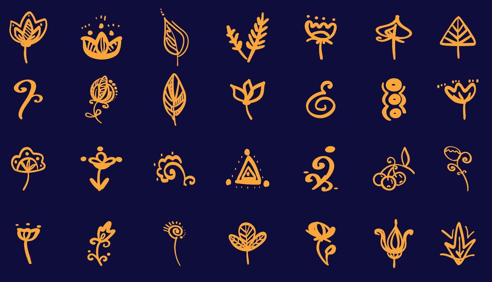 28 Floral inspired simple vector elements preview.