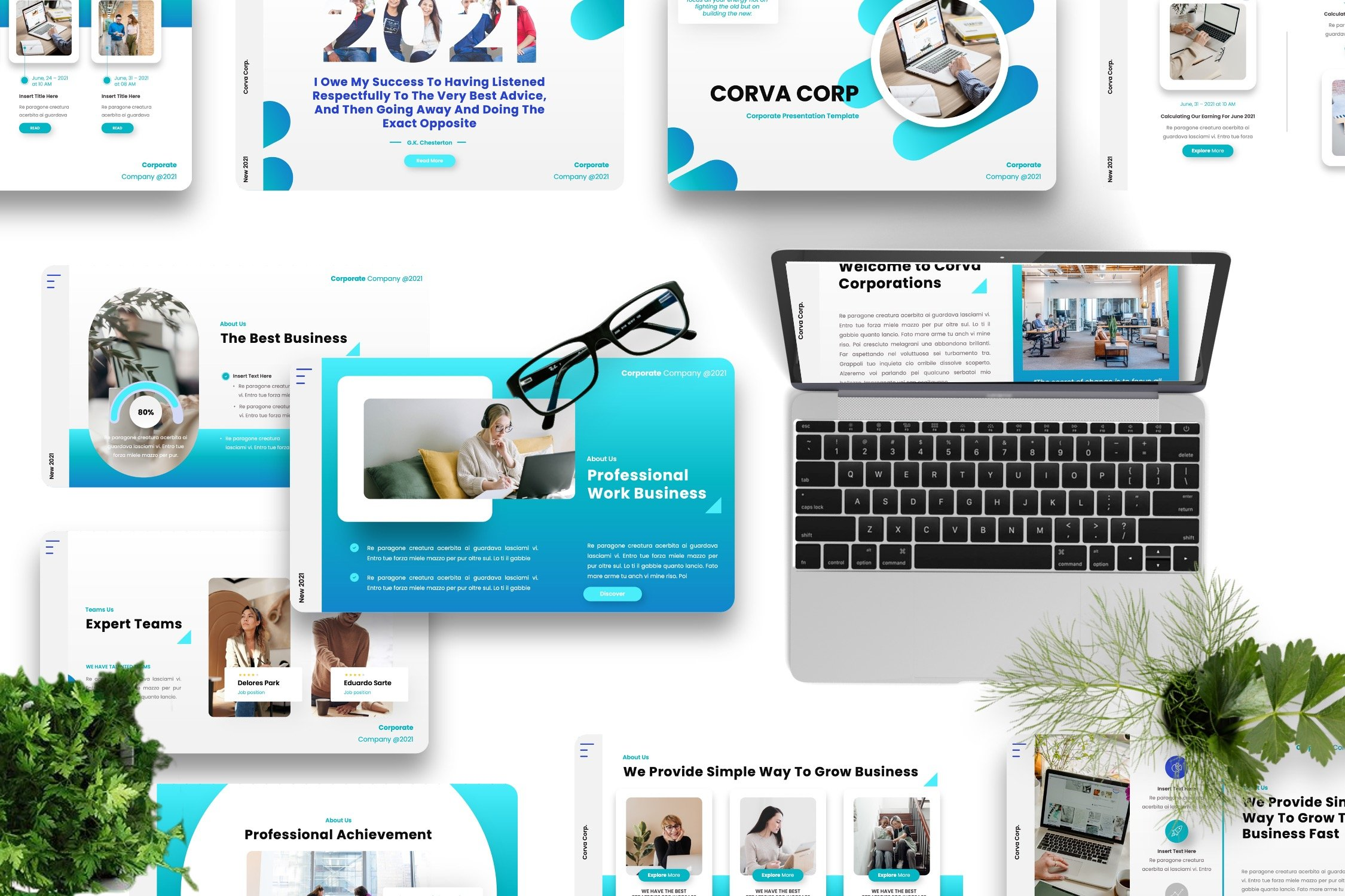 Blue template for eco and contemporary topics.