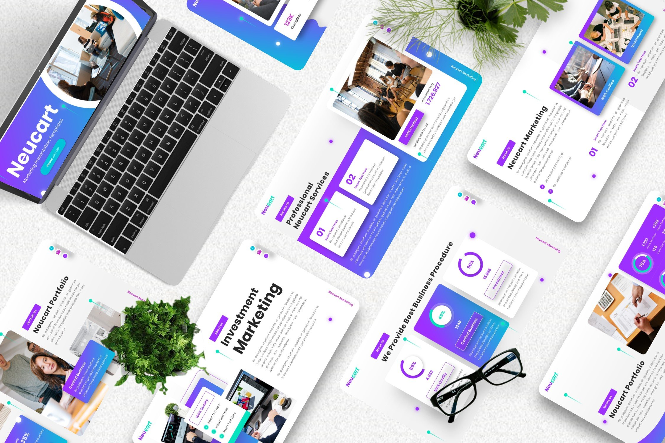 Color gradient and useful elements will create a perfect business presentation.