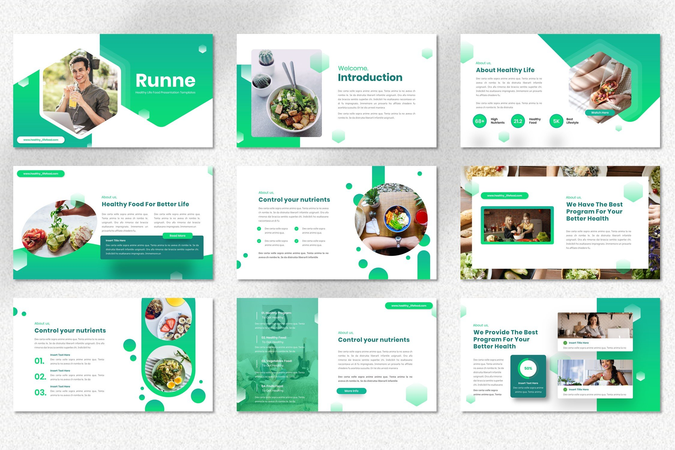 Template includes the unusual geometric shapes for images.