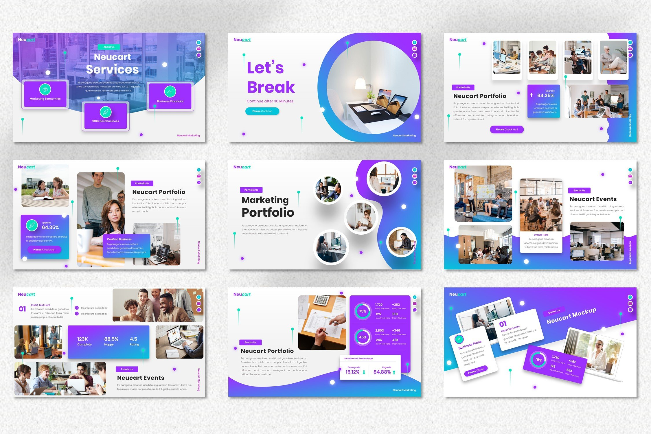 Template has the soft vivid shapes and comfortable text blocks.