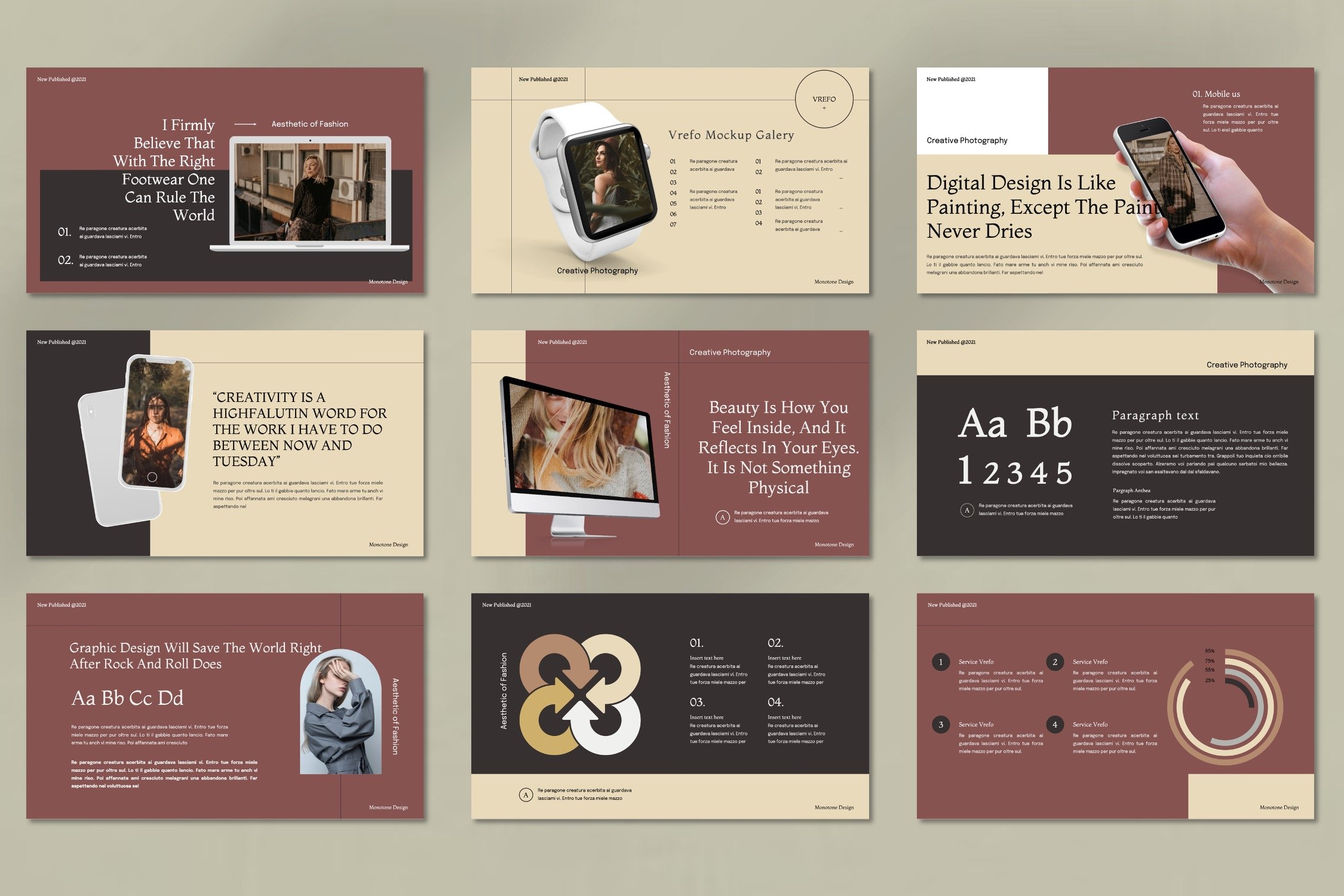 Template has a warm color and modern elements.