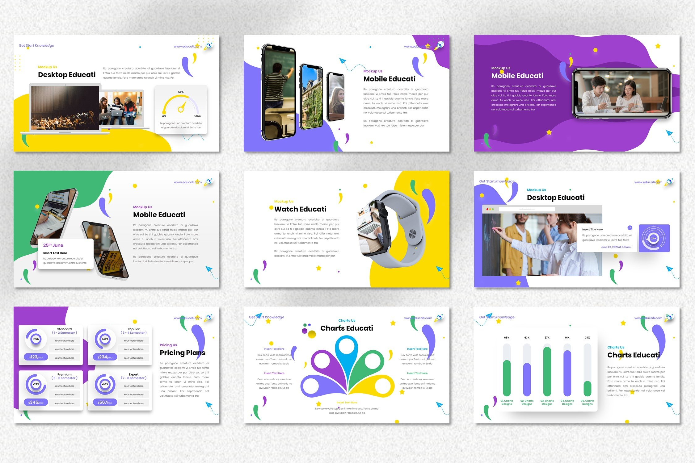 The template is dominated by purple, which will make your presentation fashionable.