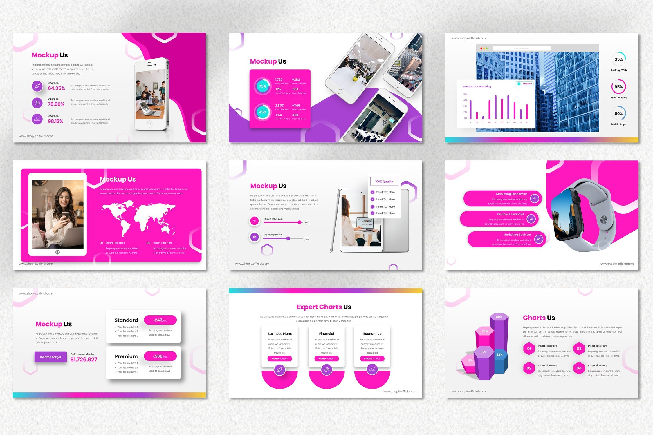 This template has a big infographics and maps.
