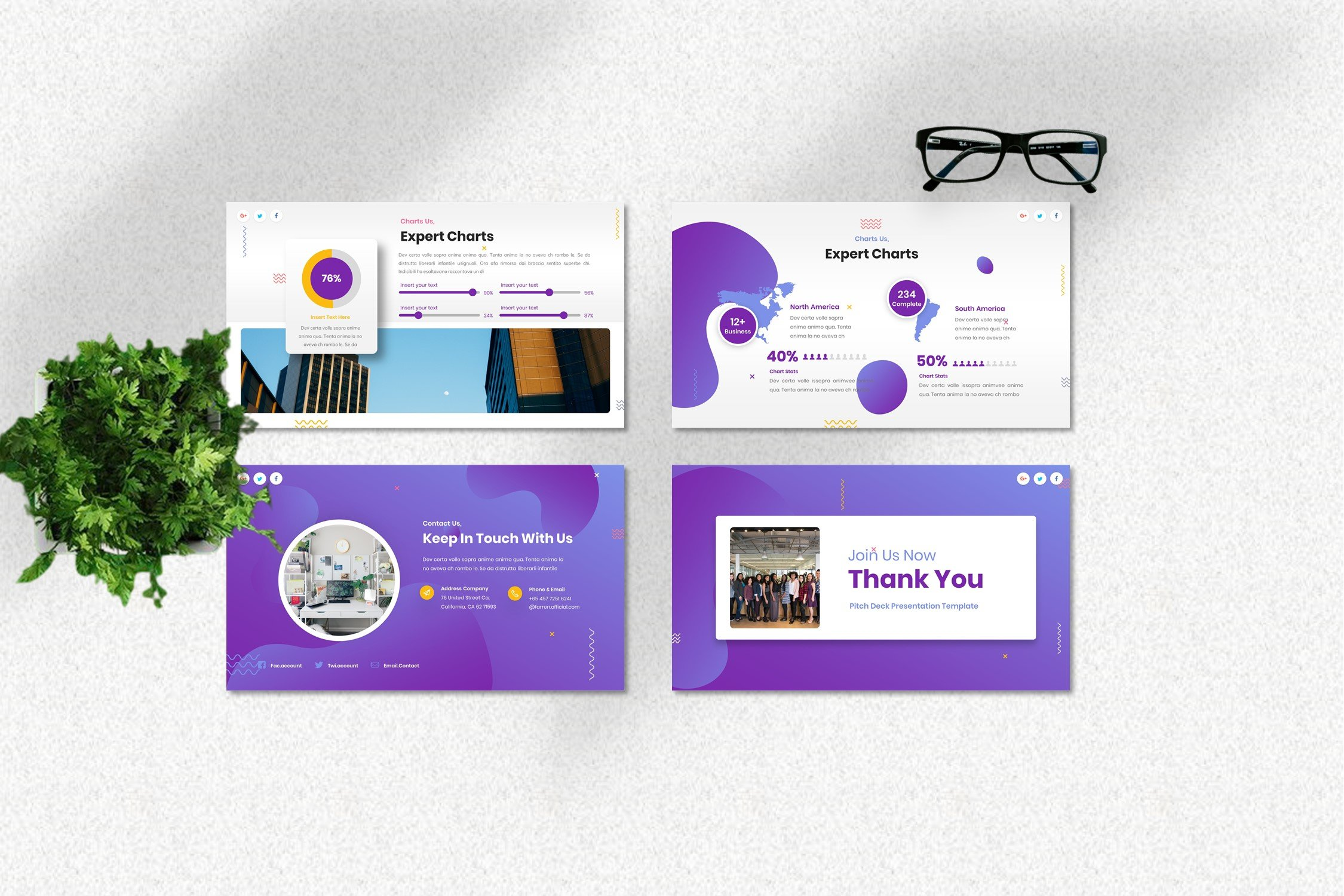 Purple style provides a modern look of your presentation.
