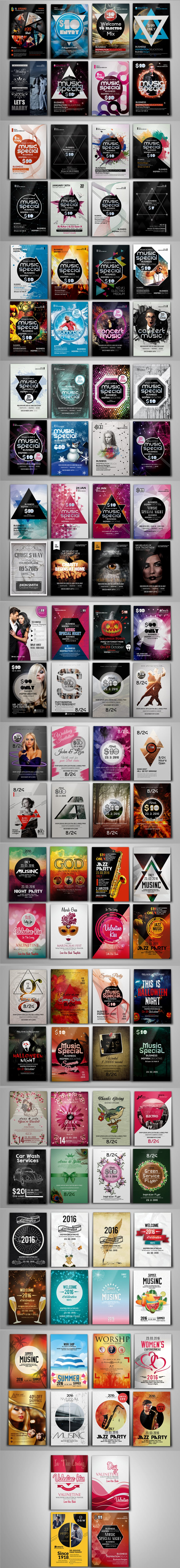 100 Party & Bash Flyers Templates Bundle - Full Preview