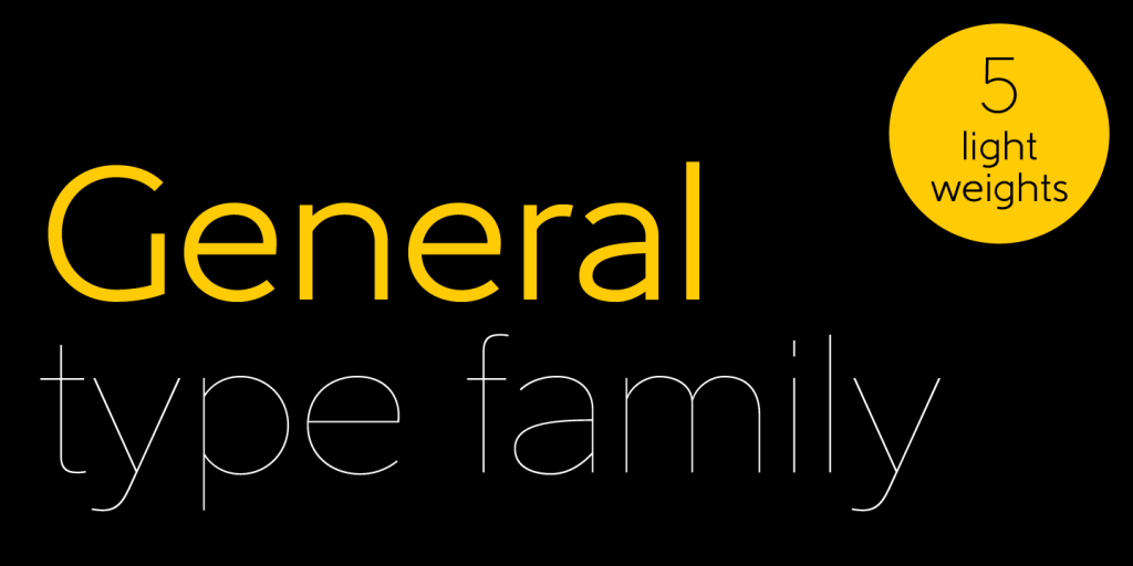 Black background with bold yellow and thin white.