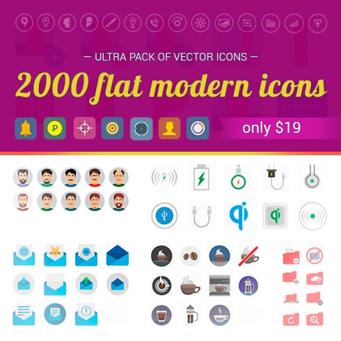 Ultra Pack of 2000 Flat Modern Icons