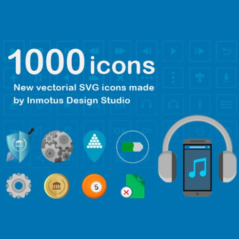 Flat Icons Pack: 1000 Vector Icons – $15
