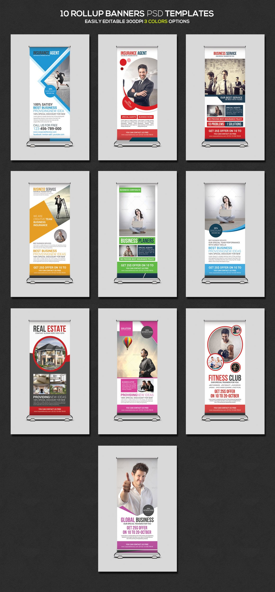 10 Rollup Banners PSD Templates