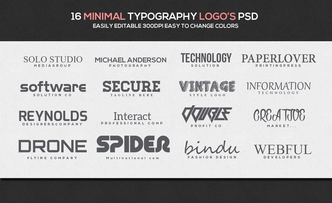 16 Minimal Typography Templates