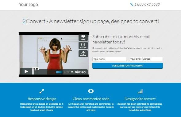 2Convert Responsive Landing Pages