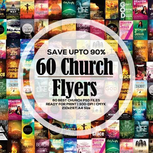 Flyers Bundle: 60 Glorious Church Flyer Templates – $35! - 490x490 2