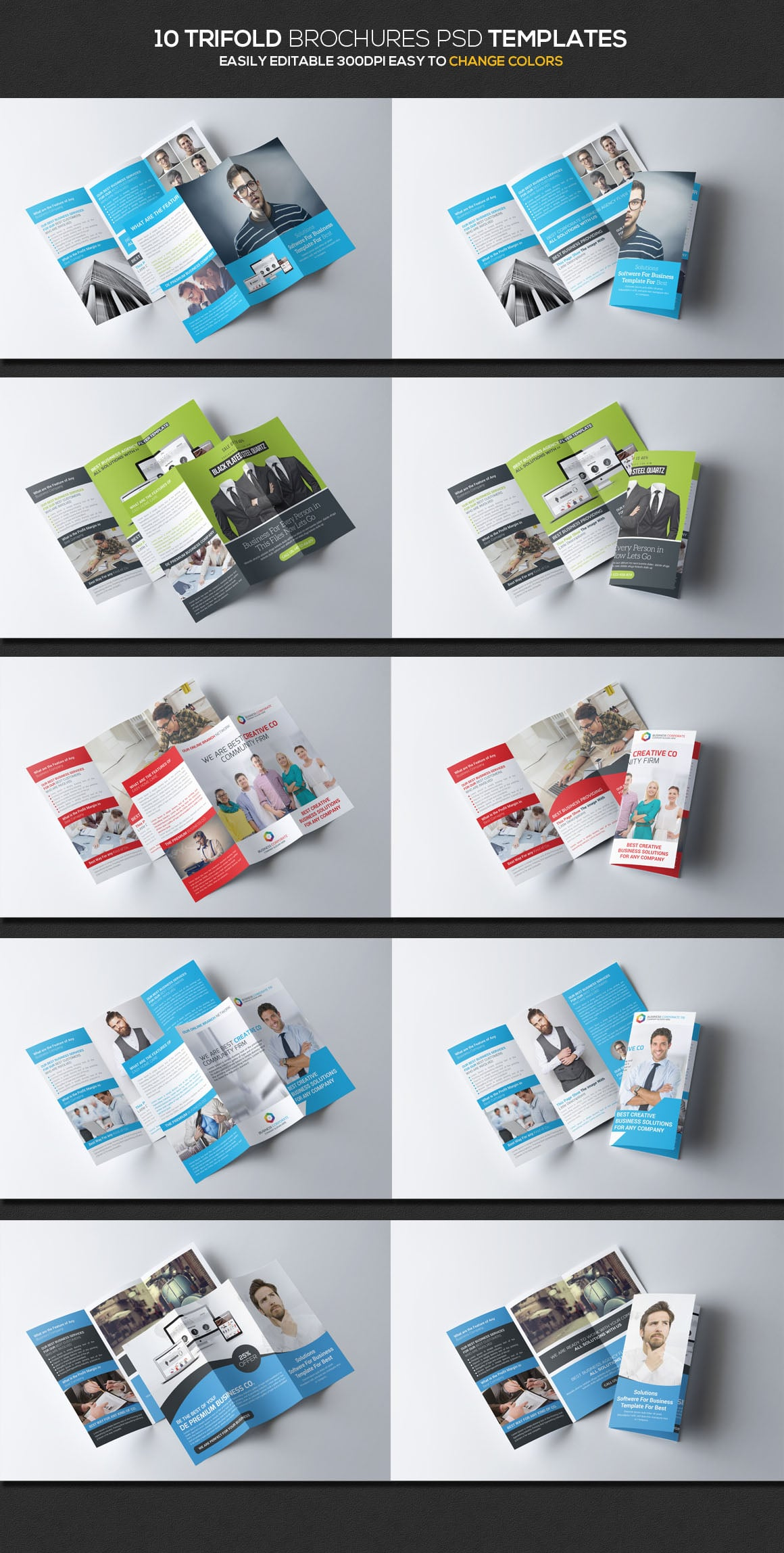 10 Trifold Brochures PDS templates