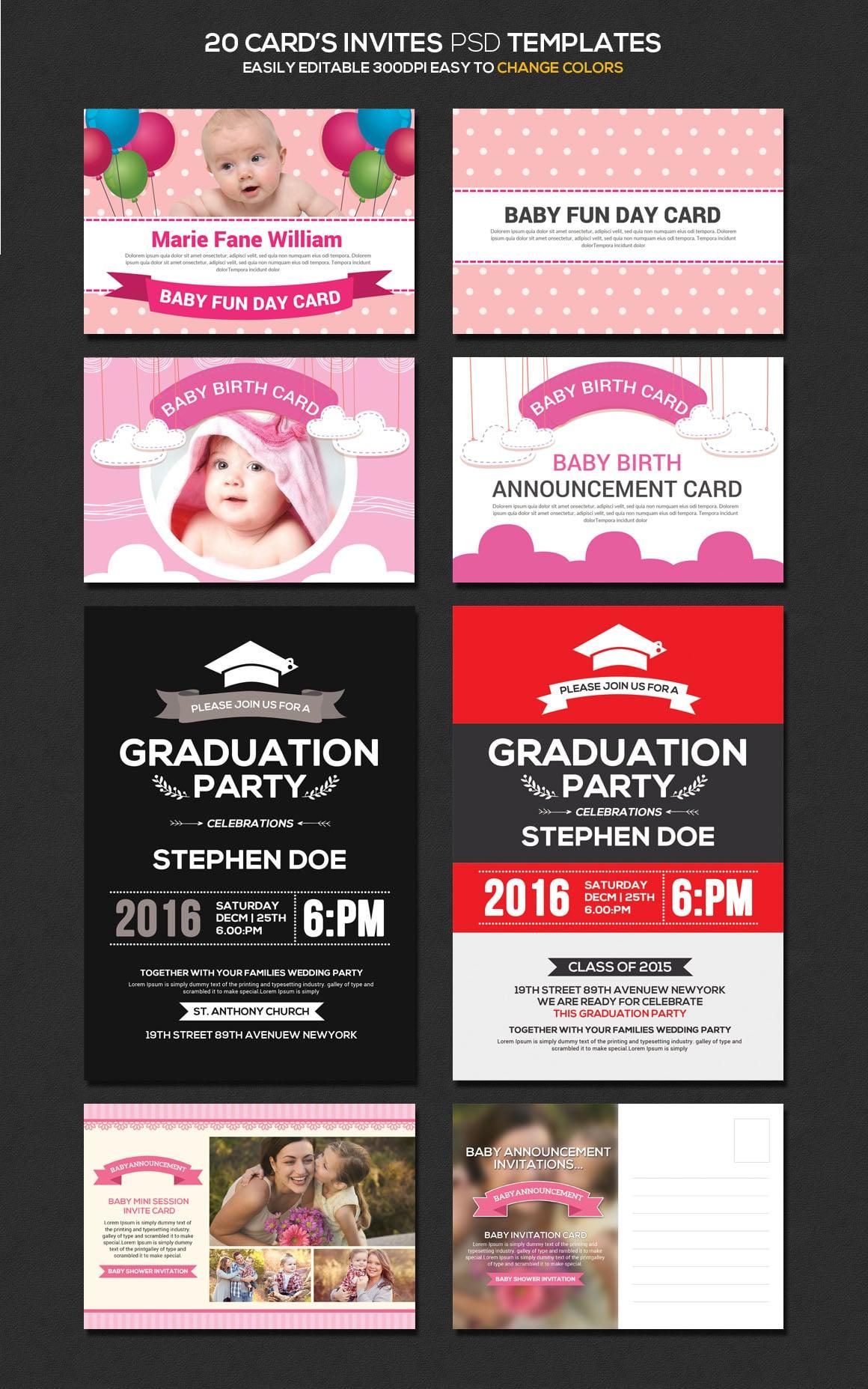 20 Invite Cards PSD Templates