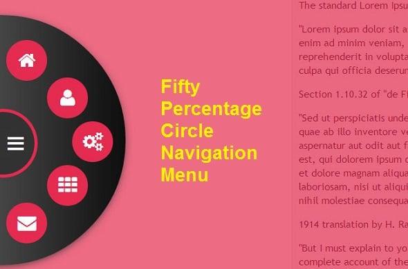 fFifty Circle Navigation Menu