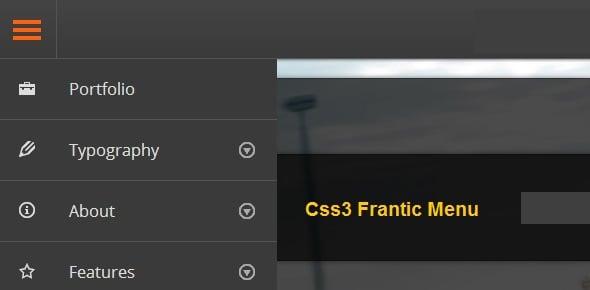 CSS3 Frantic Menu