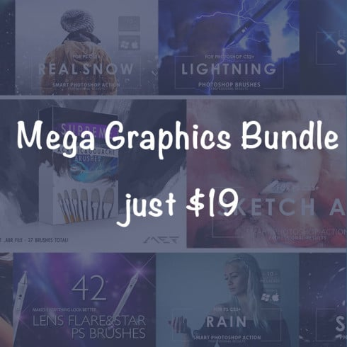 Mega Graphics Bundle: Photoshop Actions, Brushes, Overlays - just $19 - 1110 490x490
