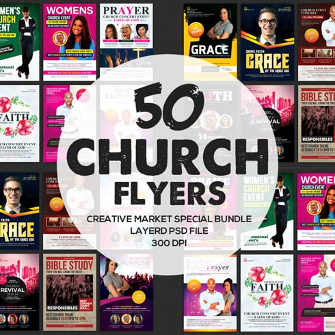 Graphic Bundle: 50 Amazing Church Flyers – just $29!