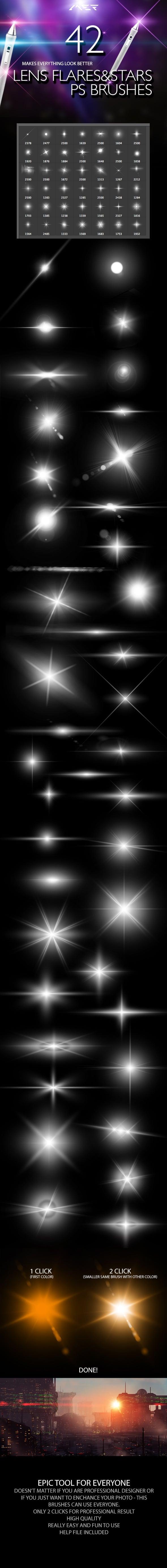Lens Flares & Stars Photoshop Brushes prev