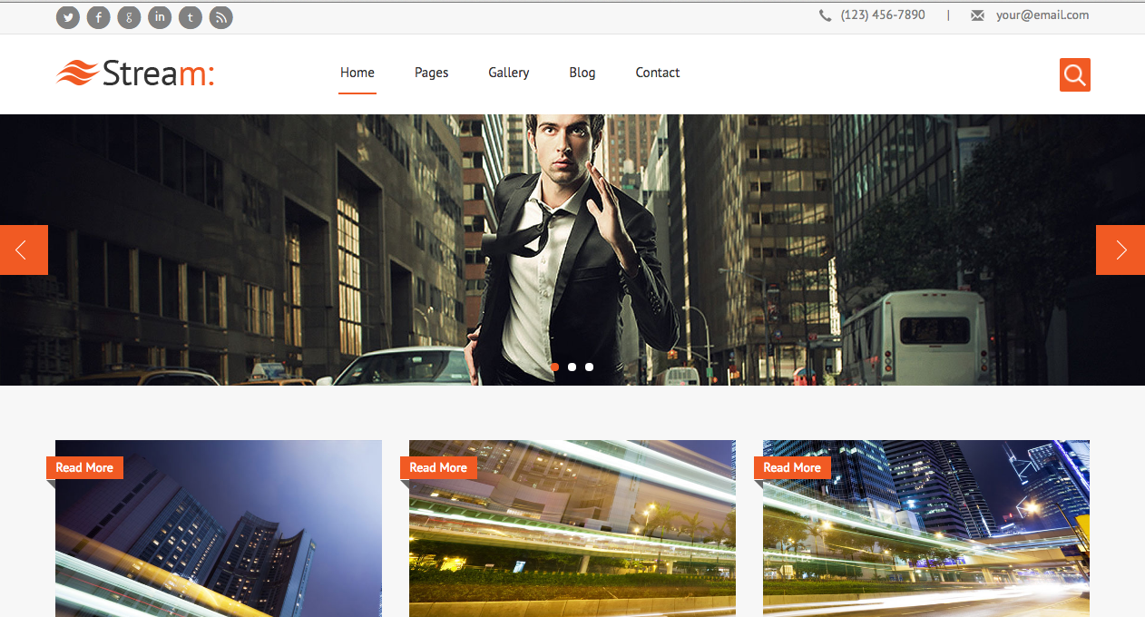 Stream responsive website template