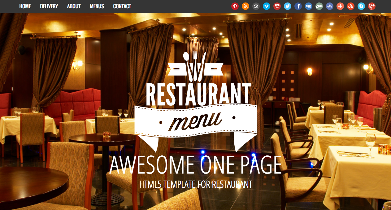Restaurant one page website template