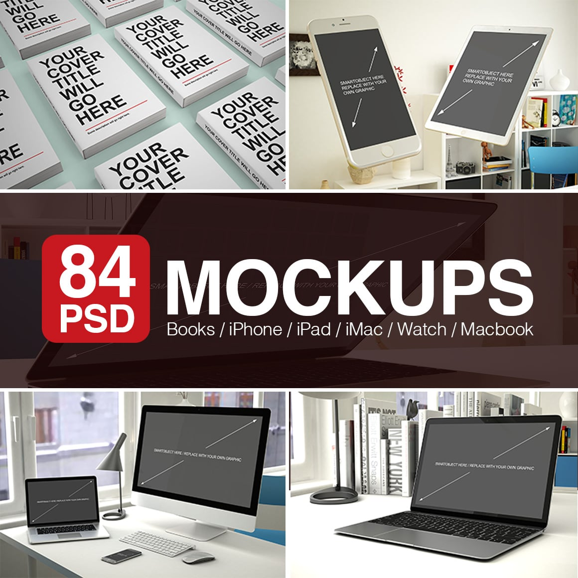 Apple Device Mockups: PSD Mockups 2021 main cover.