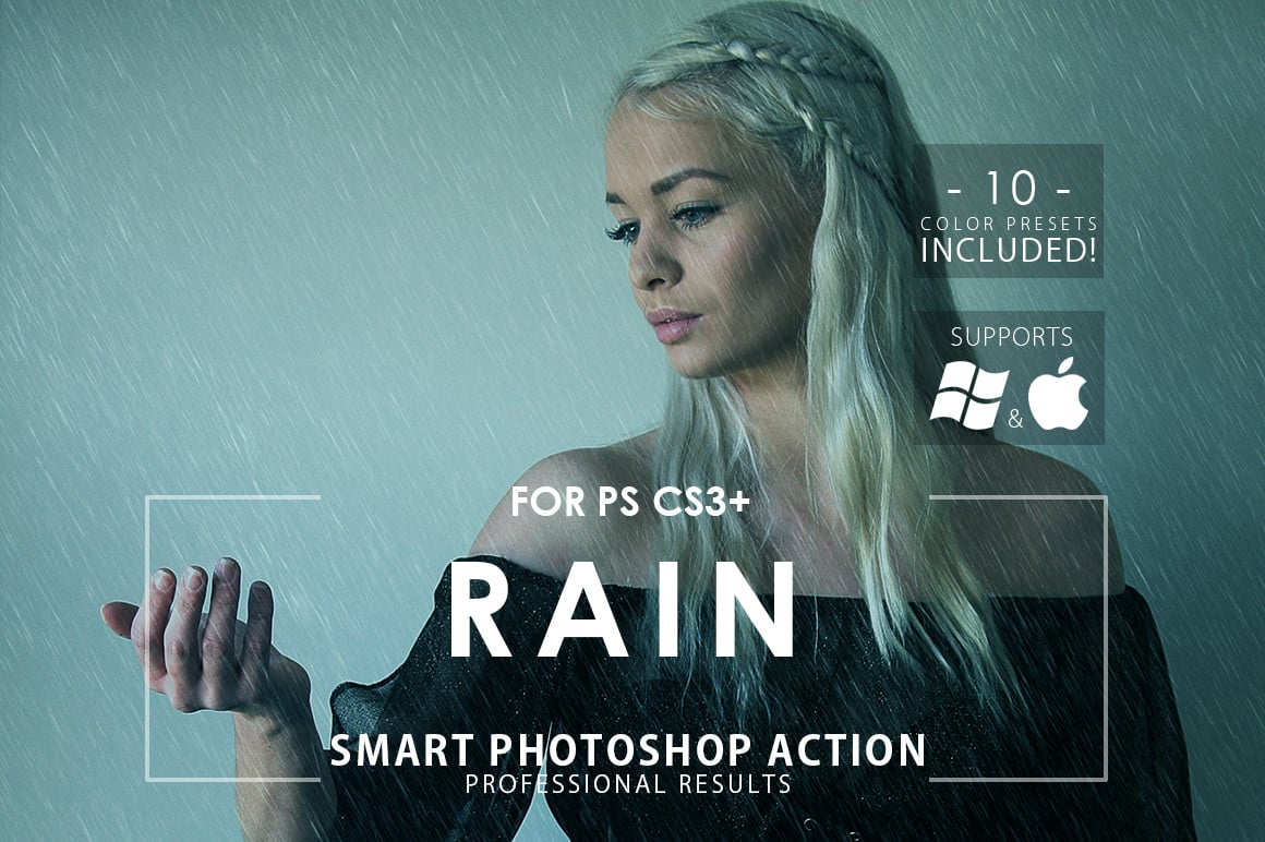 rain photoshop action prev
