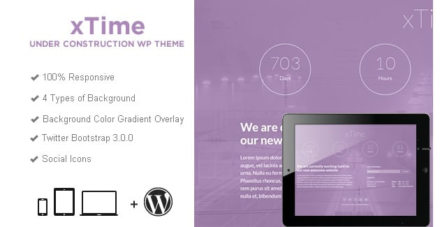 xTime Under Construction WordPress Theme