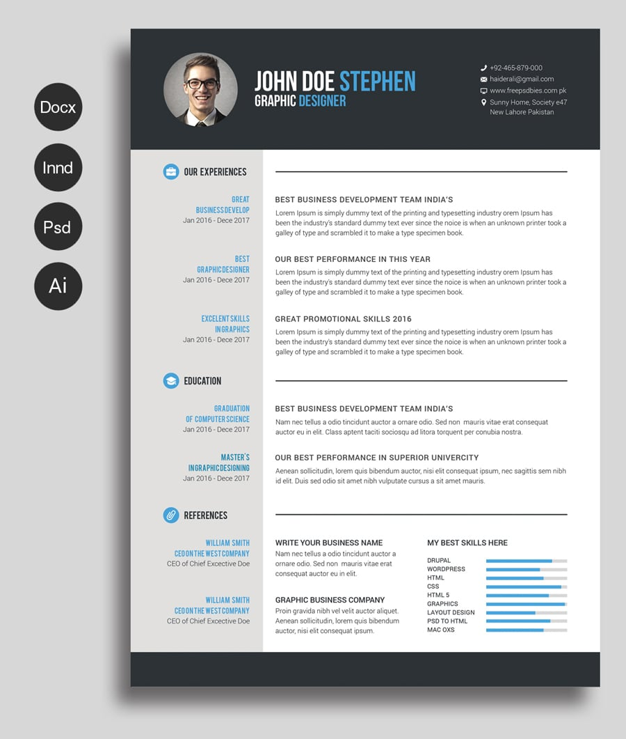 Free Resume Template Downloads Free Professional Resume Templates Master Bundles