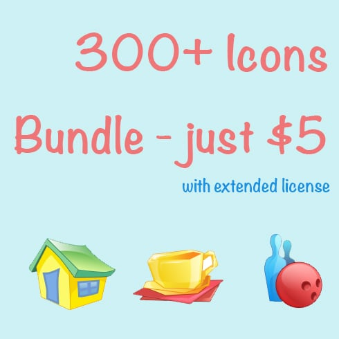 Icons Bundle: 300+ Web Icons for $5 ONLY