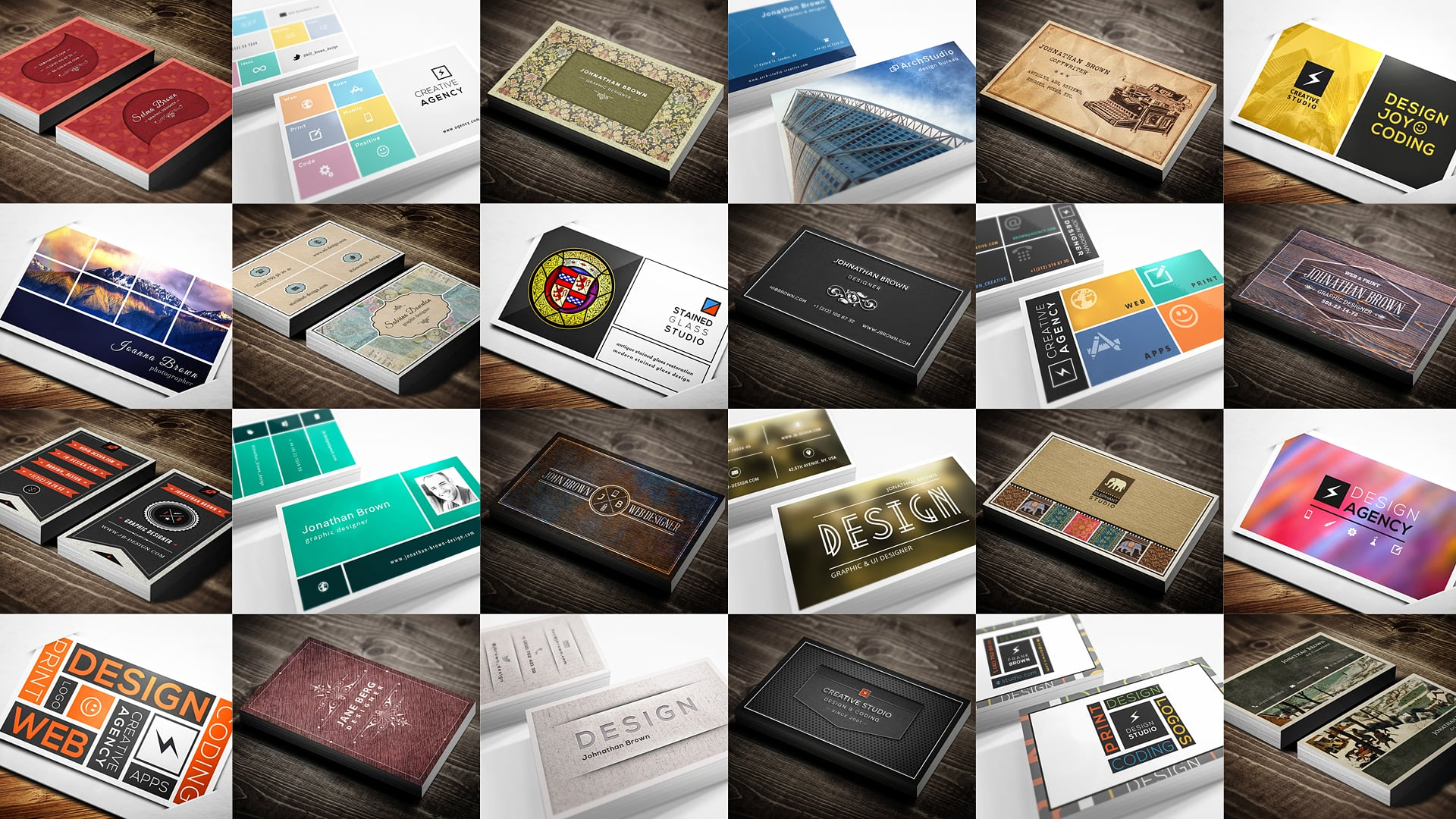 30 Retro and Minimal Business Cards Bundle.